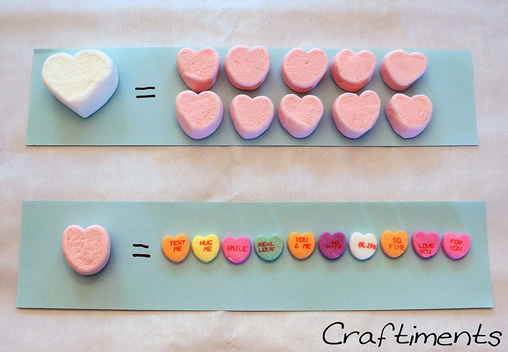 Craftiments:  Candy heart equivalence