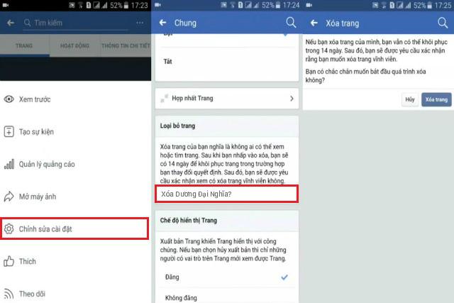 Cách xóa fanpage facebook 3