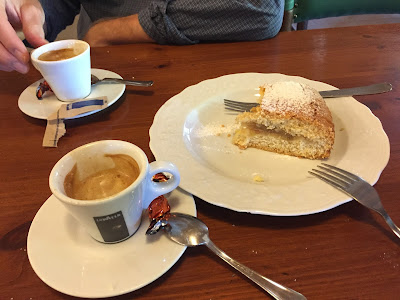 At Passo della Presolana, coffee and cake before starting the hike.
