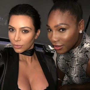 Kim Kardashian displays bra-tions in photo with Serena Williams