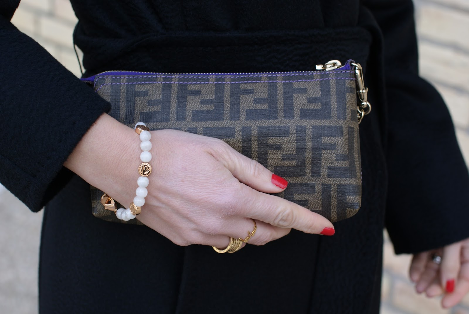 Fendi Zucca pochette, Millelire bracelet on Fashion and Cookies fashion blog, fashion blogger