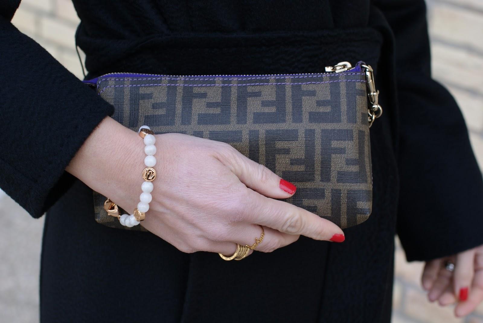 Fendi Zucca pochette, Millelire bracelet on Fashion and Cookies fashion blog, fashion blogger