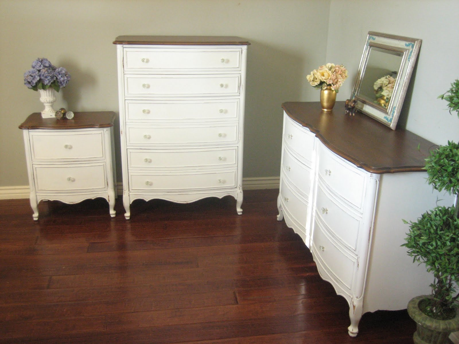 white dresser with stained top