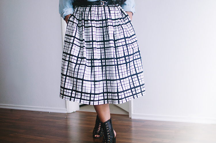 asos check midi skirt forever 21 chambray