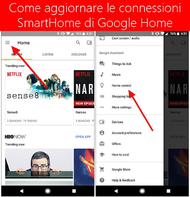 Come aggiornare le connessioni domestiche SmartHome di Google Home