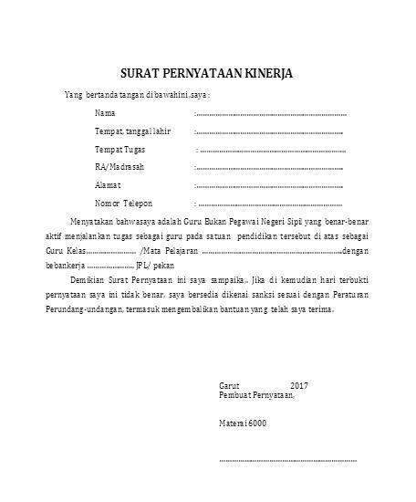 Contoh Surat Pernyataan Kinerja Madrasah Garut