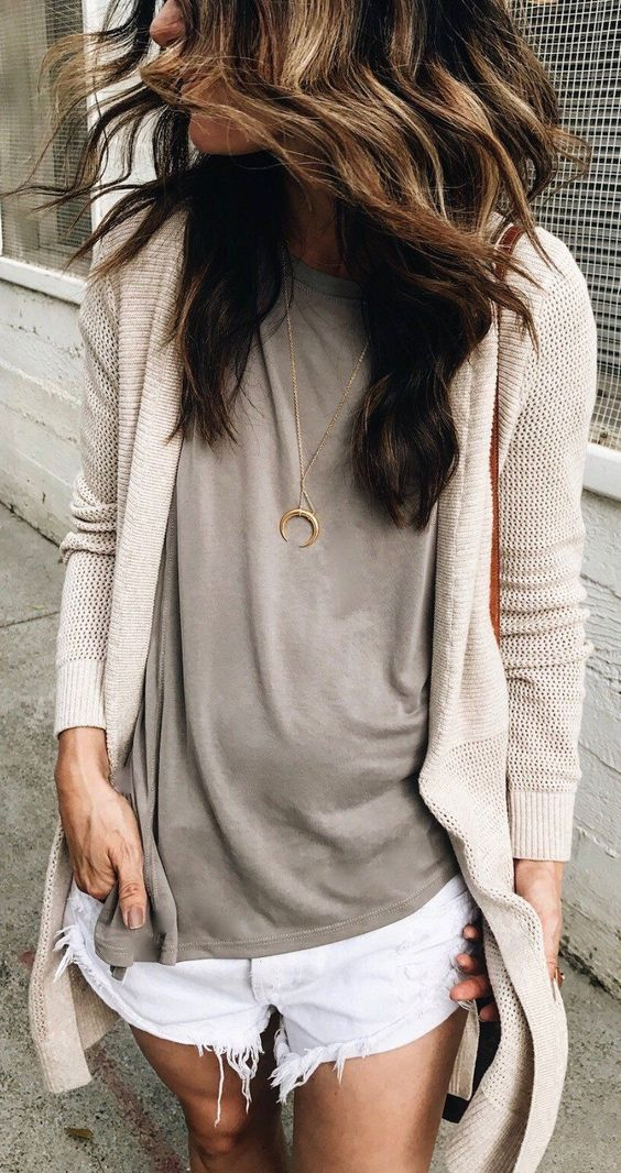 how to wear a beige cardigan : top + white shorts