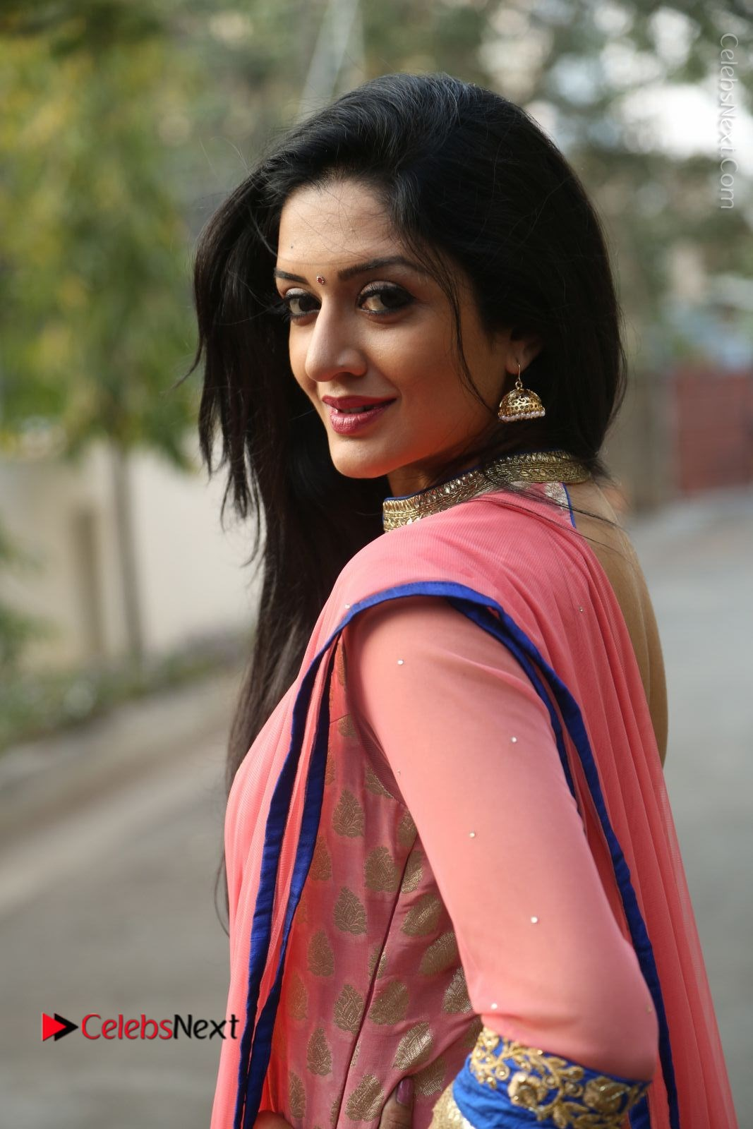 Vimala Raman Stills in Beautiful Pink Salwar Kameez at (ONV) Om Namo Venkatesaya Press Meet