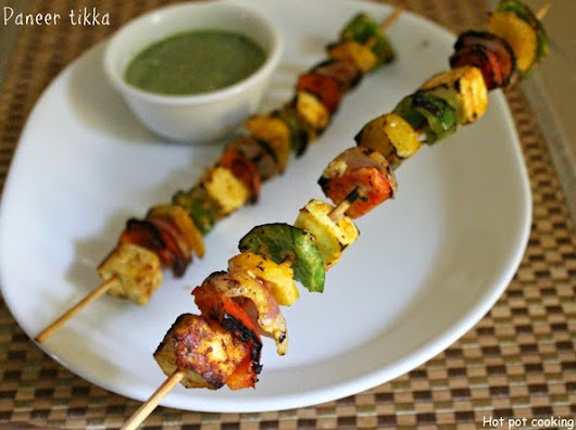 Hot pot cooking: Paneer Tikka