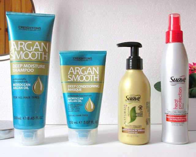 creightons argan smooth shampoo, creightons argan smooth maqsue, suave leave-in cream, suave heat protection spray