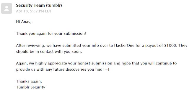 Stored XSS Vulnerability in Tumblr