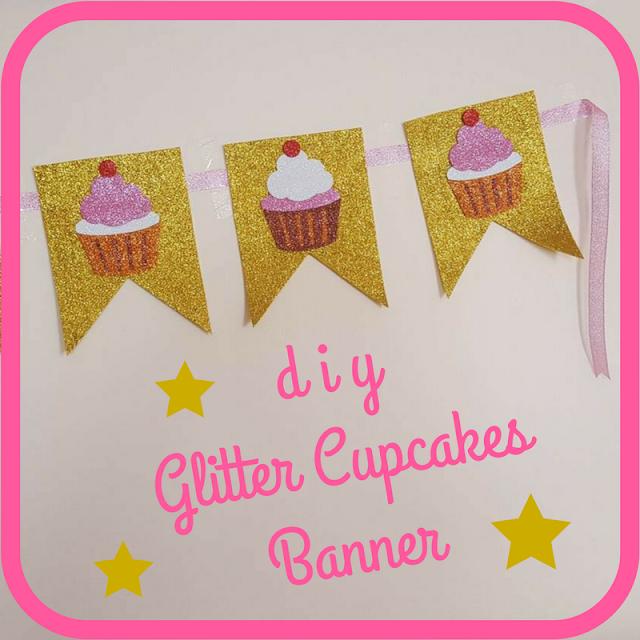 DIY Glitter Cupcakes Banner