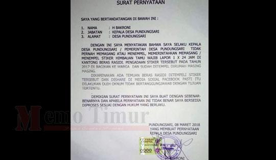 Surat pernyataan Kades Pundungsari H. Bakroni