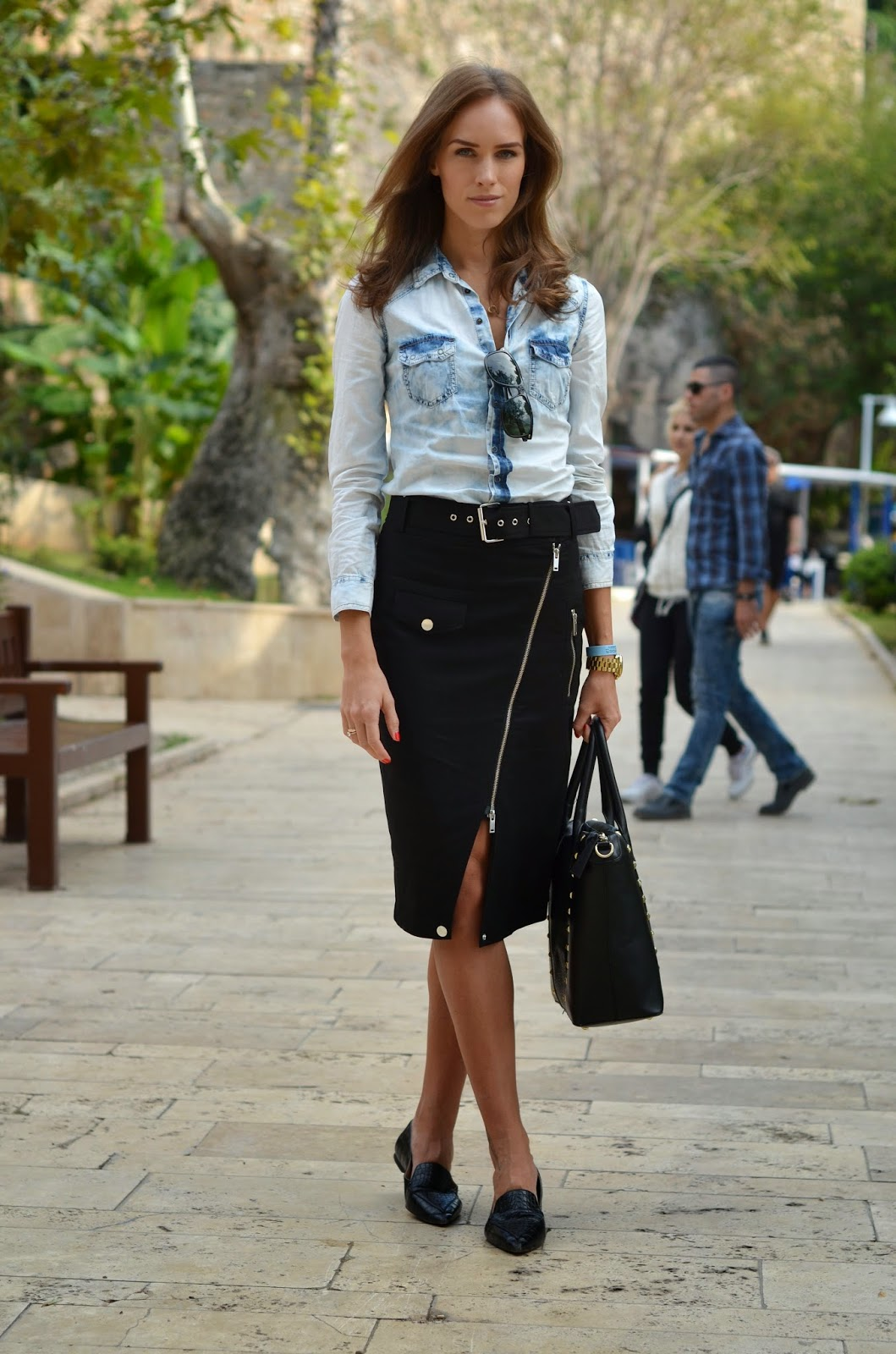 denim-shirt-gaultier-zipper-pencil-skirt-pointed-flats-bag kristjaana mere