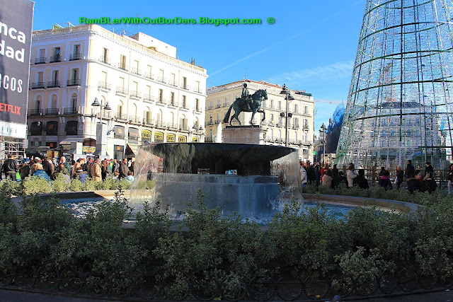 Fountain and statue of Charles III, Puerta del Sol, Madrid, Spain