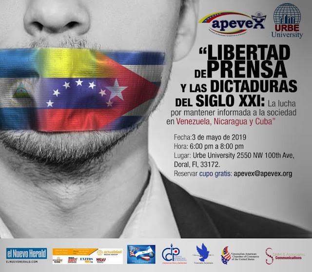 """EE.UU: Conferencia """"La libertad de prensa y las dictaduras del Siglo XXI"""" para 03 de mayo en el Doral."""