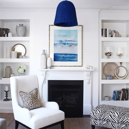 Blue Painted Basket Hanging Pendant Lamp