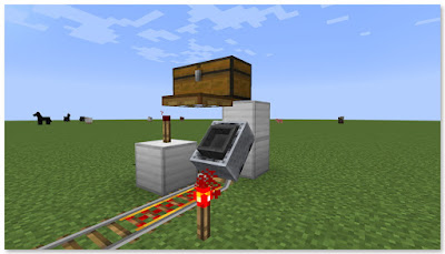 Minecraft 高速トロッコ輸送 アイテム積み込み駅 発車