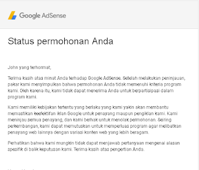 Domain Web.id Tidak Diterima Adsense