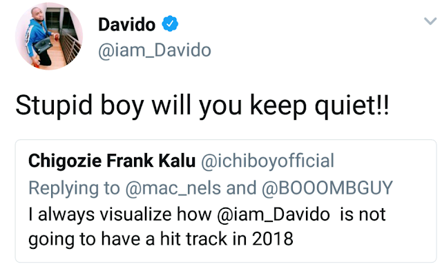No Chills! See What Davido Said To A Fan Who Said He Won't Have Hit Song In 2018