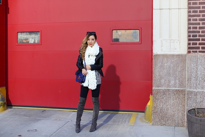 splendid off shoulder top, free people chunky knit scarf, celine classic box bag, steve madden gorgeous over the knee boots, kendra scott earrings, kendra scott ring, karen walker sunglasses, nyc street style