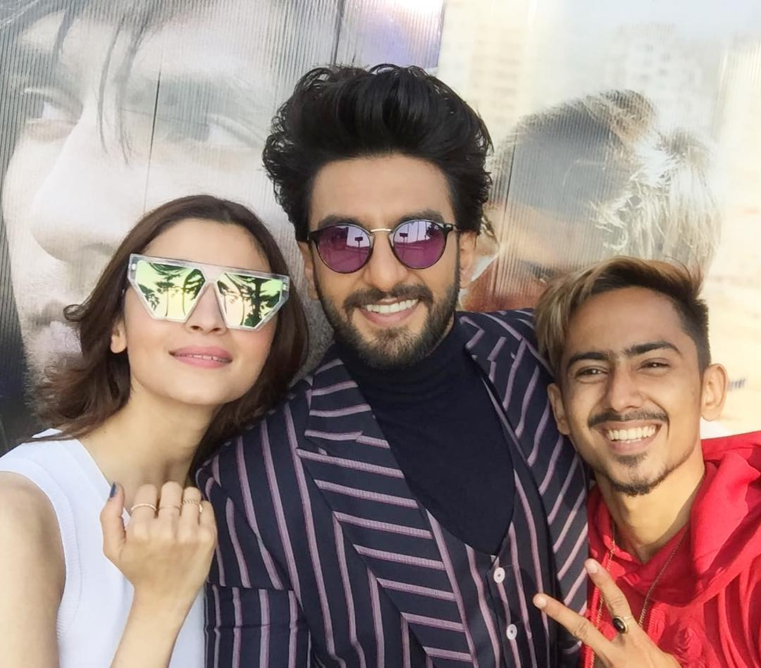 Adnaan Shaikh with Ranveer Singh and Alia Bhatt