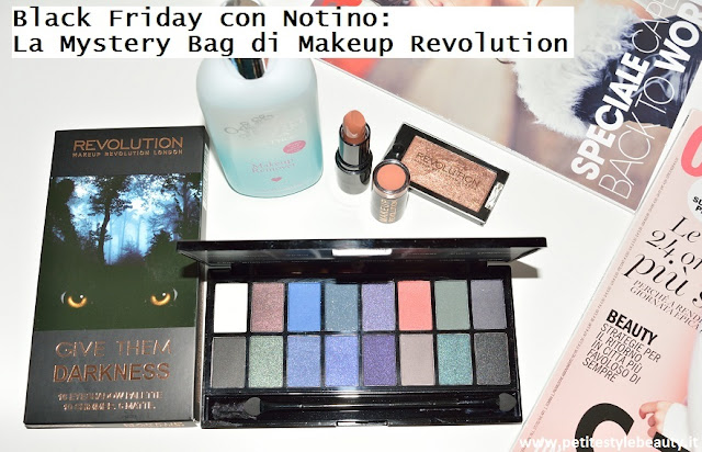Scopri in anteprima il pacchetto sorpresa destinato agli acquisti Makeup Revolution su Notino con un importo di €28, solo per il Black Friday. #blackfriday #notino #mysterybag #makeuprevolution #pacchettosorpresa #givethemdarknesspalette #monoeyeshadow #nudelipstick #struccantebifasico #katiepricemakeupremover #beauty #bellezza #shopping