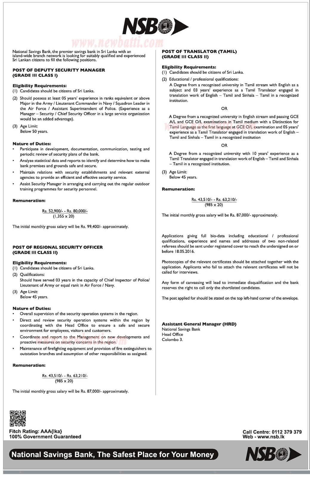 Deputy Security Manager Regional Officer Translator Data Tamil National Savings Bank Nsb 2016 May 18