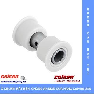 Bánh xe Nylon 6 càng inox 304 cố định phi 125 Colson | 2-5408-254 sử dụng ổ nhựa