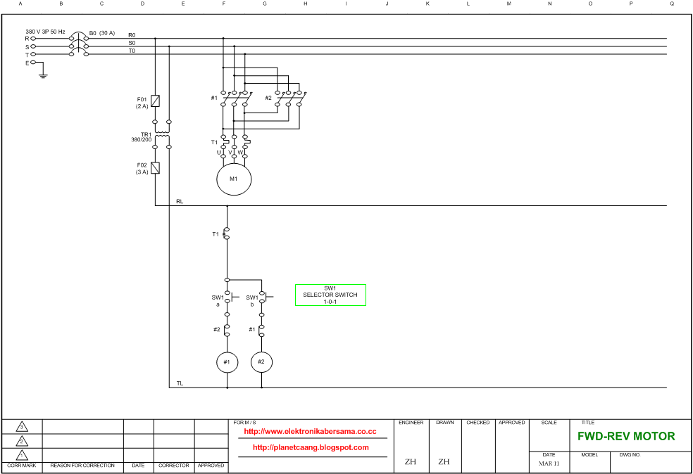 Wiring Diagram Putaran Motor Bolak Balik  Forward Reverse