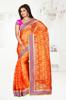 orange brasso tissue saree