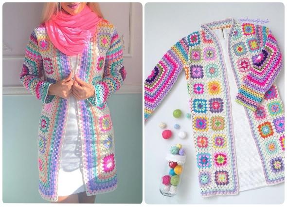 chaquetas grannys, casacas cuadraditos de la abuela, patrones crochet