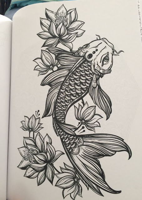 Awesome Koi Fish with Lotus Flower Tattoos