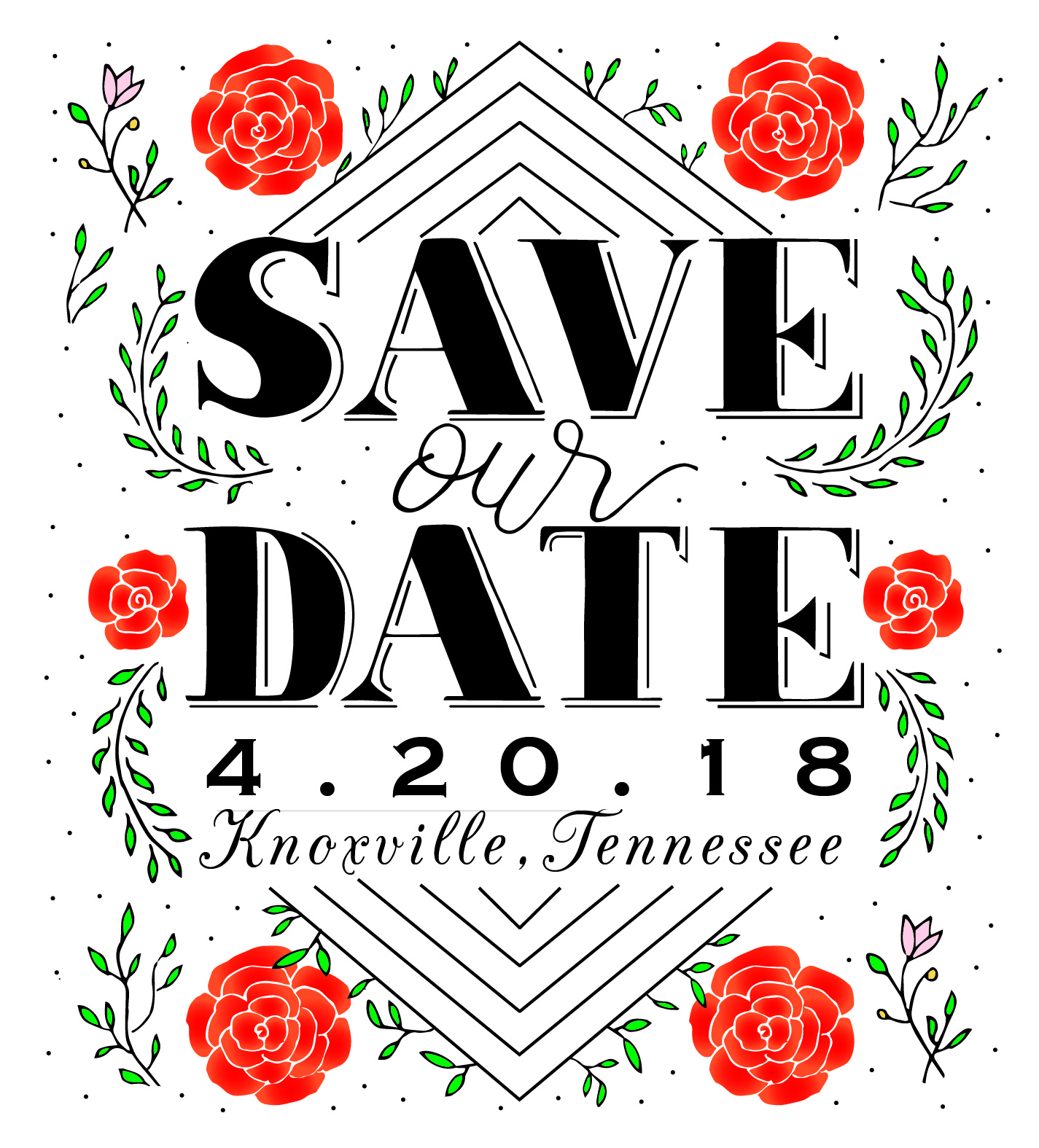 hand lettered save the date / save our date for the wedding of nkem and jon