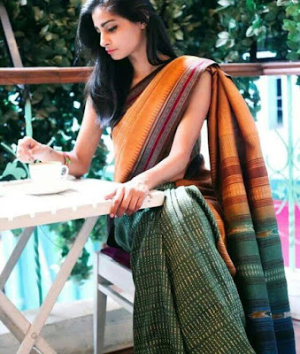 Beautiful Indian Model Girl In Handloom Cotton Saree. Usually Not A Fan Of These Half And Half Different Color Saree But This Cotton Saree On Is So Pretty.