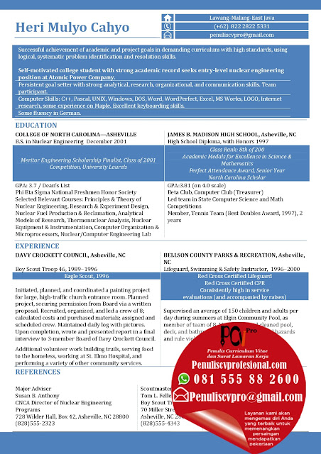 Contoh Curriculum Vitae Bahasa Inggris Fresh Graduate : Sarjana Teknik