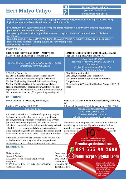 Contoh Curriculum Vitae Bahasa Inggris Fresh Graduate Sarjana Teknik