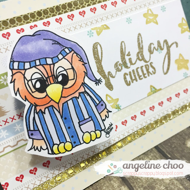 ScrappyScrappy: Christmas in July with JLO Stamps - Scrooge Brentwood Owl #scrappyscrappy #JLOstamps #stamp #christmas #card #cardmaking #mommylhey #copic #scrooge #brentwoodowl #wobblecard #actionwobble