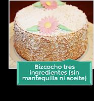 BIZCOCHO 3 INGREDIENTES {SIN MANTEQUILLA NI ACEITE}