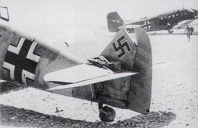 "Bf 109E7 ""White 12"" of Luftwaffe ace Lt. Joachim Müncheberg, July 1941 worldwartwo.filminspector.com"