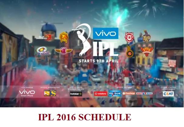 IPL 2016 Schedule Download - Chennai Super Kings 247