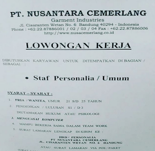 Lowongan Kerja PT Nusantara Cemerlang Bandung 2019 Sebagai Staff Personalia Kantor Umum