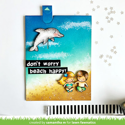 Don't Worry, Beach Happy Card by Samantha Mann for Lawn Fawnatics Challenge Blog, Beach, card, Lawn Fawn, Handmade Cards, Distress Ink, Ink Blending, ocean #cardmaking #beach #lawnfawn #interactive