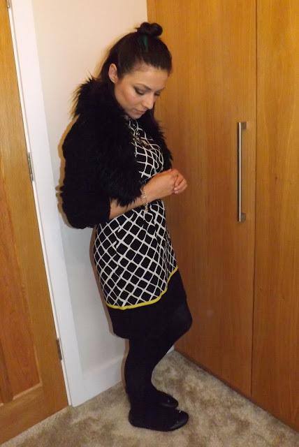 What Cat Wore | Grid Dress + Cardigan