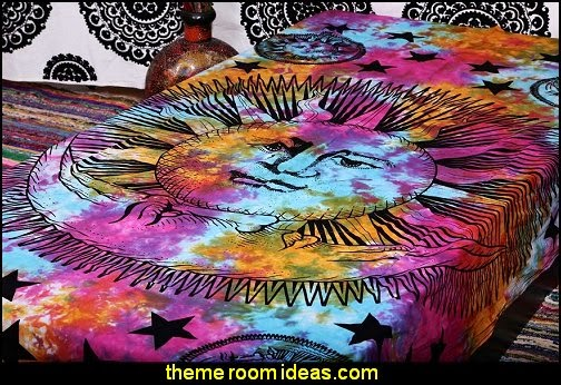 Psychedelic Celestial Sun Moon Stars Tie Dye Tapestry, Hippie Hippy Wall Hanging