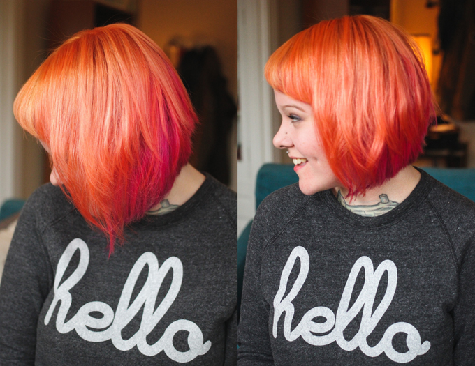 Orange and pink hair, dyed hair