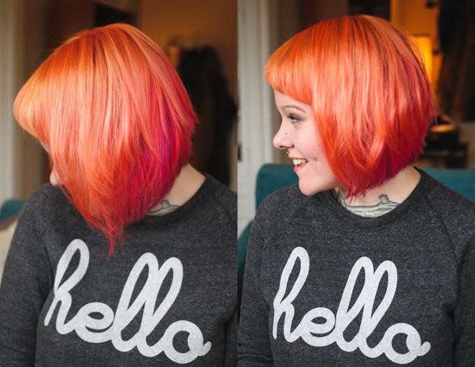 Orange and pink hair, dyed hair