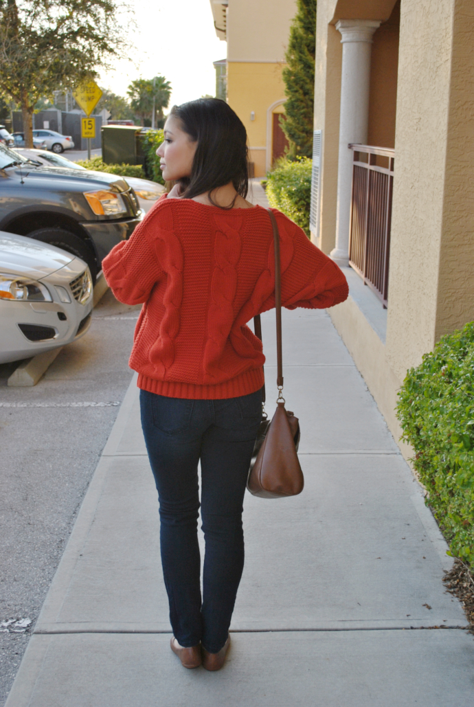 brown flats outfit, Sheinside Red Knit Sweater, charlotte russe refuge jeans, Arafeel bag, Payless flats, Knit Sweater, Knit Sweater Outfits