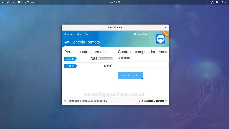TeamViewer executando no Fedora Workstation, com ambiente de desktop GNOME