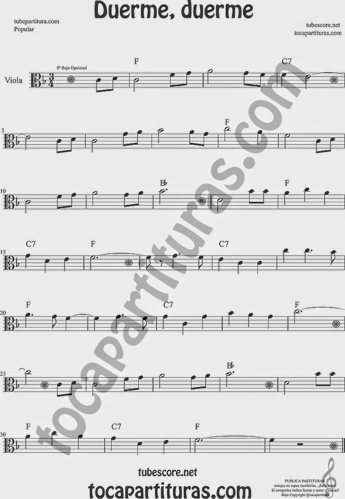 Duerme Duerme Partitura Popular de Viola Sheet Music for Viola Music Score